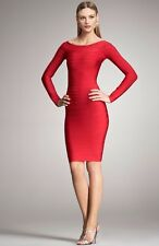 Bandage Red Long Sleeve Bodycon Rayon Mini Evening Party Formal Cocktail Dress