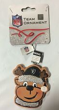 Oakland Raiders Gingerbread REINDEER Christmas Tree Holiday Ornament NFL NEW