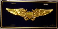 Aluminum Military License Plate U S Navy Flight Officer Wings NEW