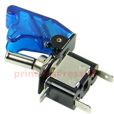 Car 12V Racing On Off Aircraft Type Blue LED Toggle Switch Control Blue Cover