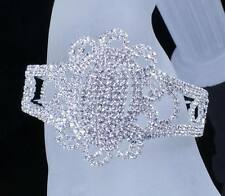 FLORAL BRIDAL AUSTRIAN CRYSTAL BANGLE BRACELET CUFF SILVER WEDDING PROM B12119
