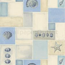 Kitchen Bathroom Tiled Seashells * - Rasch Taste Aqua Relief Wallpaper 825909