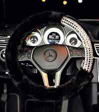 38CM Luxury Black Plush Fuzzy Auto Car Steering Wheel Cover With Rhinestone