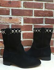 MICHAEL KORS Hayes Black Suede Studded Ankle Boots Booties * 6.5 & 7 RARE!
