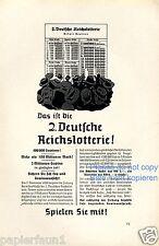 Reich LOTTERIA la pubblicità di 1939 LOTTERIA TOTO LOTTO ausspielung profitto Pubblicità
