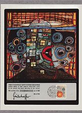 HUNDERTWASSER ( UNITED NATIONS ) WFUNA ART GRAPHIC 1982 - NEW YORK FD CANCELLED