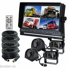 "4Pin 12-24V Car Reversing Camera Kit 4 CH 10.1"" LCD Monitor+4 CCD Backup Cameras"