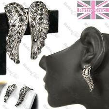 MARCASITE angel wings ELEGANT CURVE EARRINGS crystal VINTAGE SILVER PLTD wing