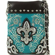 Western Cowgirl Turquoise Fleur de lis Cross Body Hipster Small Messenger Bag
