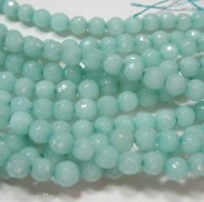 "Blue-Green ""Amazonite"" Quartz 6mm Faceted Round Beads 15"" Sparkling Translucent"