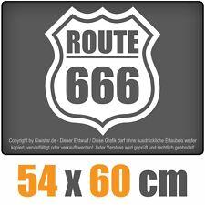 Route 666  chf0151 weiß 60 x 54 cm Heckscheibenaufkleber Scheibe Auto Car