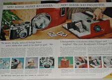1957 KODAK Cameras 2-page advertisement for Signet 40 Camera & projector