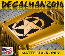 Jeep Wrangler Blackout  Distressed Star Vinyl Hood Decal JK JKU  2007-2016