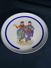 Antique Dresden Germany Plate Dutch Scene Early 1900's 2 Men Cigars Wood Shoes