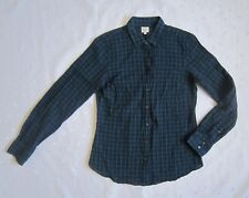 J. CREW LONG SLEEVE PLAID BLUE GREEN WRINKLE STYLE BUTTONS FRONT SHIRT ~ SIZE S