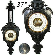 """Antique Victorian 37"""" Wall Barometer, Thermometer, Carved & Ebonized Wood Case"""