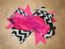 "NEW ""CHEVRON Pink & Black"" Fur Hair Bows Alligator Clips Girls Grosgrain Ribbon"
