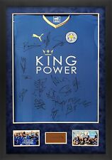Leicester City F.C. FRAMED SIGNED SQUAD JERSEY INC Vardy Mahrez COA AFTAL (F)