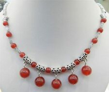 """LOVELY NATURAL RED RUBY ROUND BEADS PENDANTS & TIBET SILVER NECKLACE 18"""" sf"""