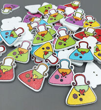20 Shoulder bag shape wooden Buttons Mixed color Sewing Scrapbooking Craft 25mm