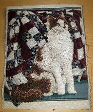 Orange & White Cat On A Quilt Tapestry Pillow Top Fabric Piece