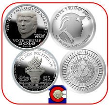 2016 Trump Proof-Like Dollar & 2016 Vote Trump  - Two Silver Coins in airtites
