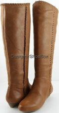 INC International Concepts RANNY Luggage Leather Designer Wedge Casual Boots 6