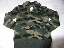 POLO  RALPH LAUREN Hand Knit  BOY'S CAMOUFLAGE SHAWL COLLAR CARDIGAN Size S/M