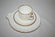 """GLADSTONE BONE CHINA  """"OLD GRACIAN FLUTE"""" SET OF 3 SNACK  PLATE CUP & SAUCER"""