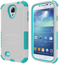 WHITE TURQUOISE TRI-SHIELD SOFT SKIN HARD CASE STAND FOR SAMSUNG GALAXY S4 S IV