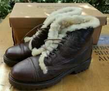 POLO COUNTRY RALPH LAUREN Brown Leather Lace Up Bomber Ankle Boots Sz 6 IN BOX