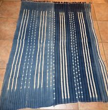 """Vintage African,Dogon Indigo Resist Dyed Fabric/Hand Woven Cotton Strips/40""""x56"""""""