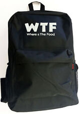 Black WTF Where's The Food Backpack Bag Hipster Streetwear School College