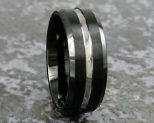 Black Tungsten Carbide Men's Beveled Wedding Ring Band