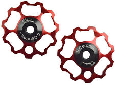OMNI Racer 11t Ti Ceramic Derailleur Pulleys 11 speed Dura Ace, Ultegra, XTR RED