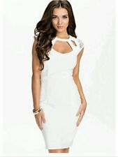 BNWT��KIM KARDASHIAN��@ LIPSY Size 8 WHITE HOTFIX CUTOUT NEW EVENING DRESS Small