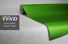 "1ft x60"" 3D Lime green carbon fiber vinyl car wrap sheet roll film sticker decal"