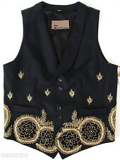 $2900 JOHN GALLIANO RUNWAY Black Gold MEXICAN PEARL Embroidered Vest IT-48 US-38