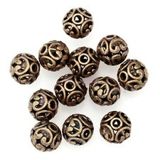 10Pc Tibetan Silver Carved Round Shaped Hollow Spacer Beads 12mm Hollow Finding