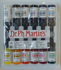 Dr Ph Martin's Fine Art Hydrus Set 1 - 12 x 15ml  Liquid Watercolour  Brand New