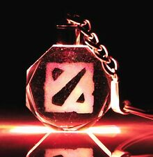 DOTA2 Logo Sign Crystal Keychain Keyring Led Light Toy Collection New In Box