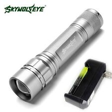 Compact 6000 LM CREE XM-L T6 LED Zoom Silver Flashlight Torch With 18650+Charger