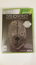 NEW Dishonored Game Of The Year Edition Microsoft XBOX 360 Video Game Bethesda