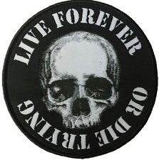 Live Forever or Die Trying Skull Round Patch Skeleton Heavy Metal Groucho Marx