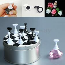 12Pcs Chess Board Magnetic Nail Art Tips Crystal Stand Salon Display Holder Set