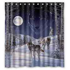 """Custom New Arrival Wolf 12 holes to which rings attach Shower Curtain 66"""" x 72"""""""