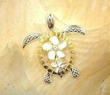 21.5mm Hawaiian Large 2-T Silver 14k Yellow Gold Honu Turtle Plumeria CZ Pendant
