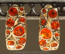 NWT 14K Yellow Gold Mexican Fire Opal Cabachon Hinged Click-in Huggie Earrings