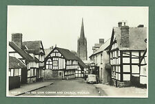 1957 RP PC THE RED LION CORNER & CHURCH, WEOBLEY