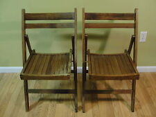 Lot of 2 Vintage Wood Slat Folding Chair Made in Romania two chairs